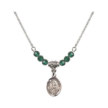 18-Inch Rhodium Plated Necklace with 4mm Green May Birth Month Stone Beads and Saint Christopher/Football Charm](Football Bead Necklace)