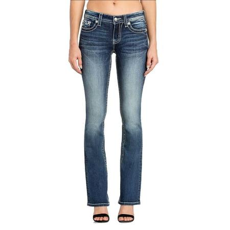 Miss Me Flap Pocket Jeans (Miss Me Border Stitch Flap Pocket Boot Cut Jeans M3362B )