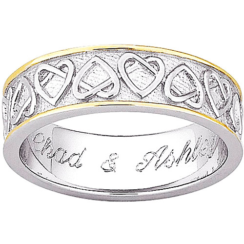 Personalized Sterling-Silver and 14kt Gold-Plated 2-Tone Celtic Heart Wedding Band