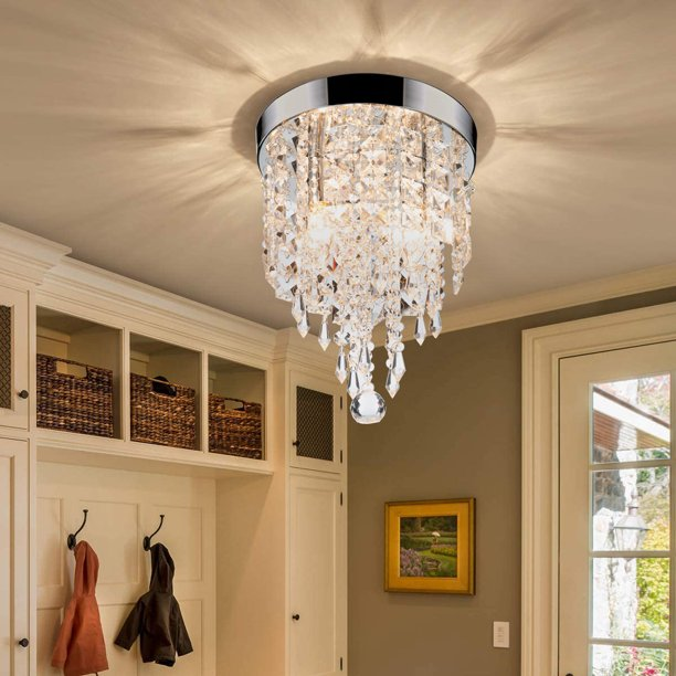 2 Light 8in Crystal Chandelier Ceiling, Crystal Chandelier Bedroom Lighting