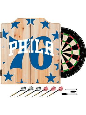 NBA Dart Cabinet Set with Darts and Board - Fade - Philadelphia 76ers