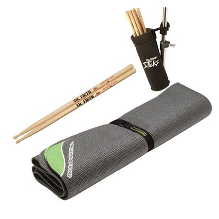 On Stage DMA6450 DrumFire Non Slip Drum Mat with Bag - 6 x 4 feet + Clamp-On Drum Stick Holder DA100 + Vic Firth American Classic 5A Drum Sticks Pair