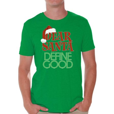 Awkward Styles Dear Santa Define Good Shirt Christmas Tshirts for Men Santa Ugly Christmas Shirt Dear Santa Christmas Holiday Top Funny Tacky Party Holiday Men's Tee Xmas Shirt ()