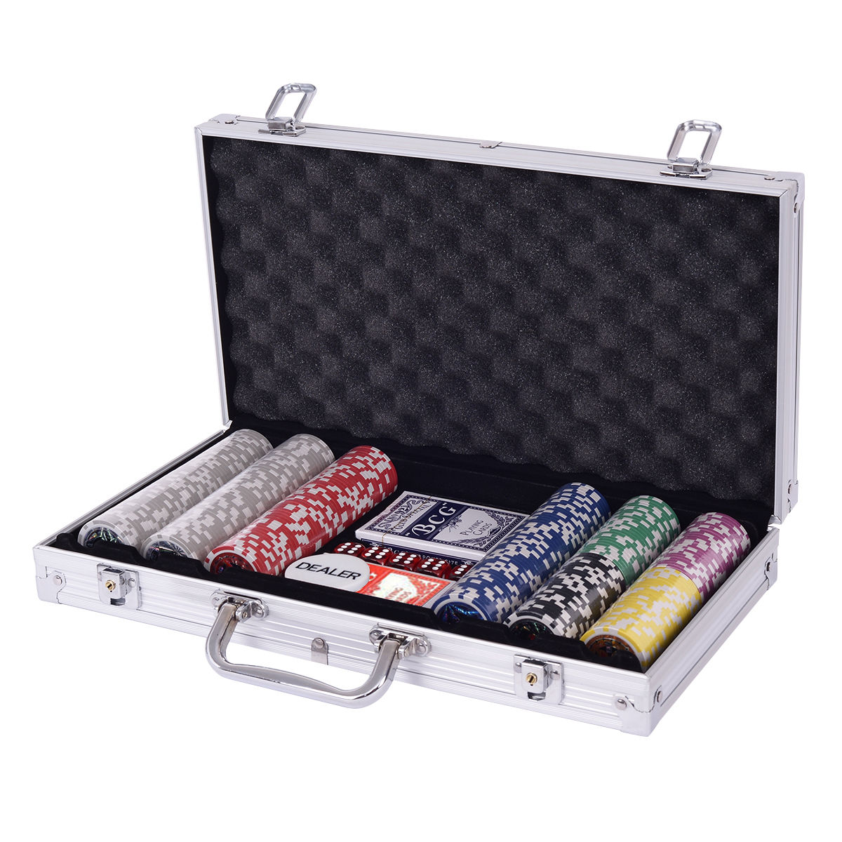 Costway Poker Chip Set 300 Dice Chips Texas Hold'em Cards with Sliver Aluminum Case