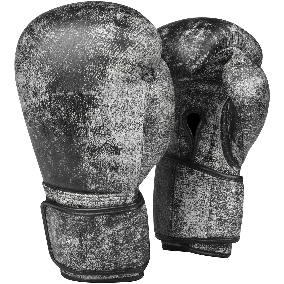 Title Boxing Distressed Glory Leather Hook and Loop Training Gloves - Black