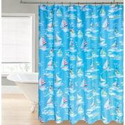 Sailboats on Aqua Blue Shower Curtain for Bathroom