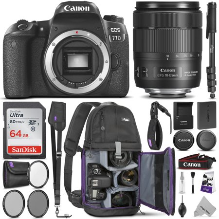 Canon EOS 77D DSLR Camera with 18-135mm IS USM Lens w/ Advanced Photo & Travel Bundle - Includes: Canon USA Warranty, Altura Photo Backpack, SanDisk 64gb SD Card, Monopod, Filter Kit, Neck