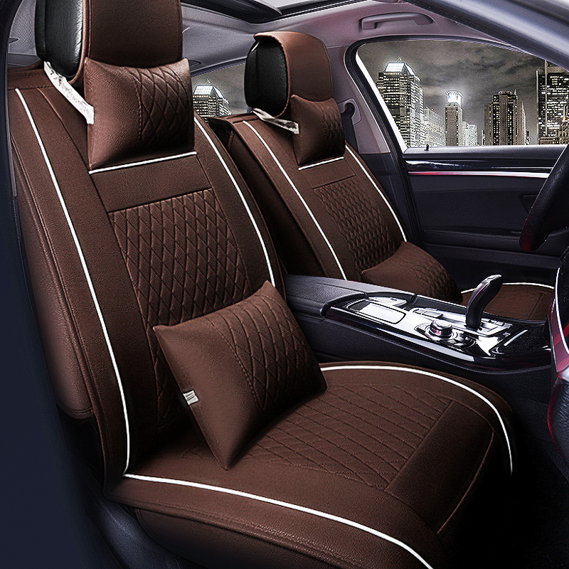 5-Seats PU Leather Auto Car Seat Cover Car Seat Pad Cushion Front & Rear W/Neck Lumbar Pillow Size M