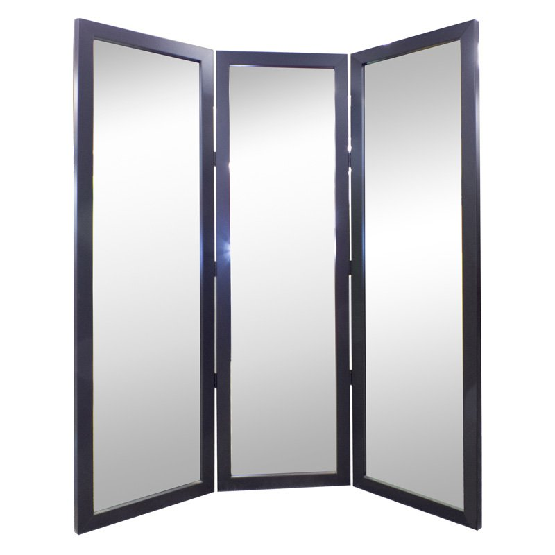 True Satin Black Full Length Free Standing Tri Fold Mirror