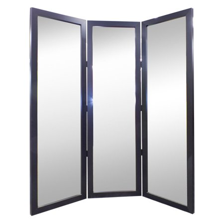 True satin black full length free standing tri fold mirror for White long standing mirror