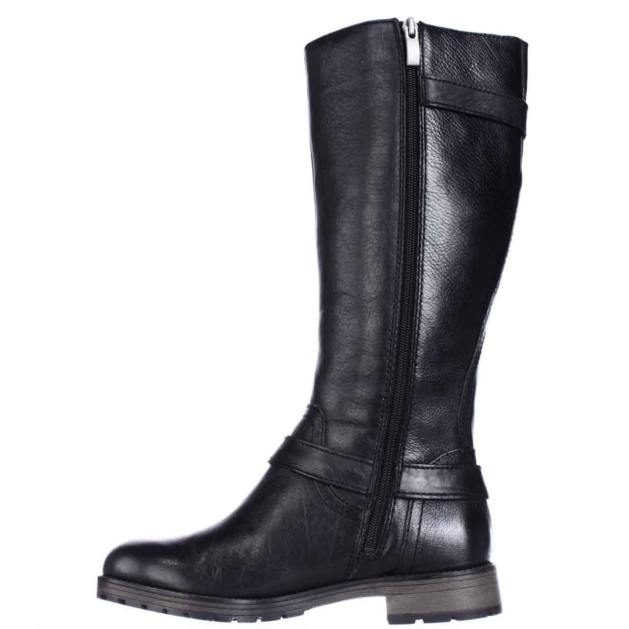Womens naturalizer Tanita Wide Calf Lug Sole Riding Boots - Black