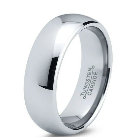 Tungsten Wedding Band - Tungsten Wedding Band Ring 7mm for Men Women Comfort Fit Domed Round Polished Lifetime Guarantee