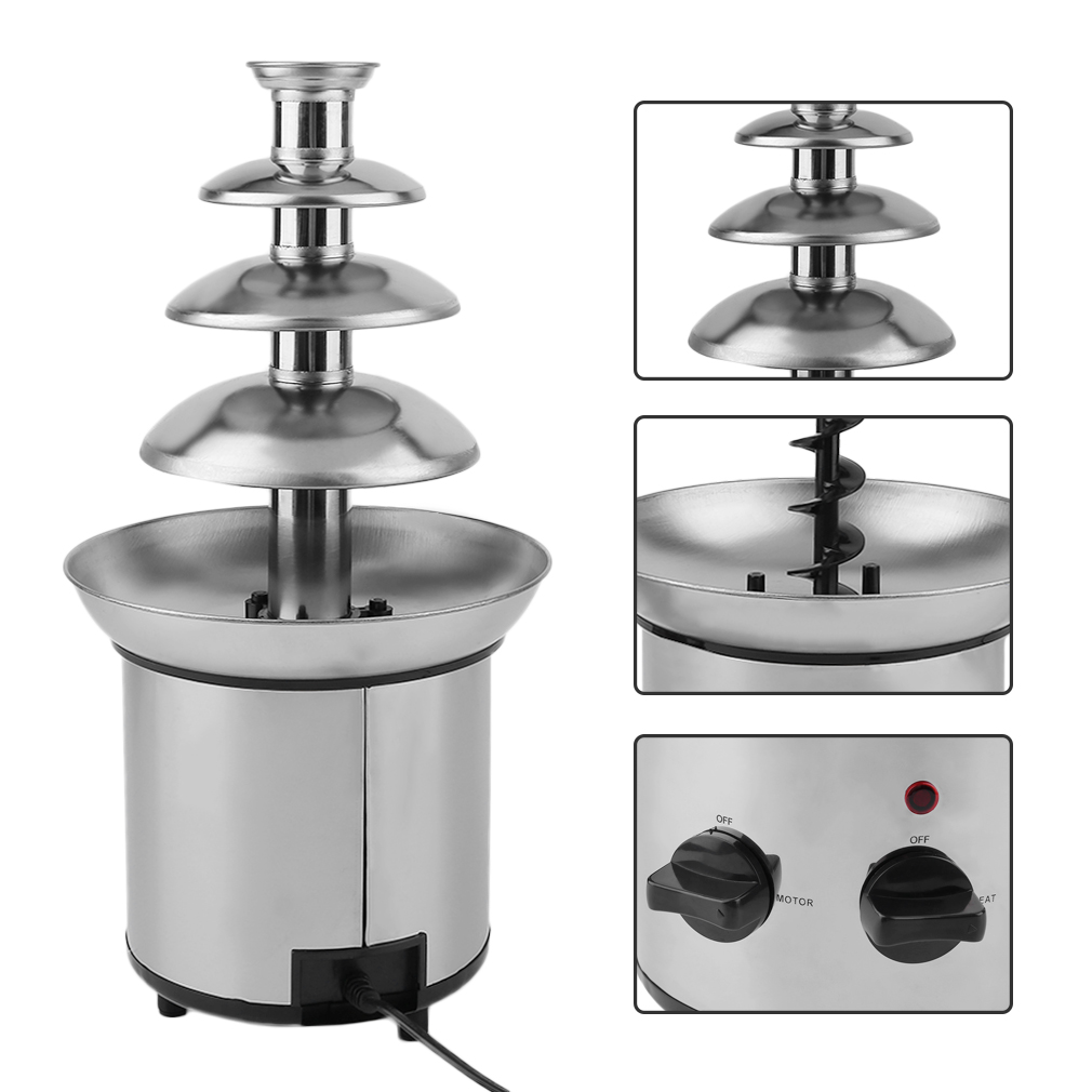 4 Tier Commercial Stainless Steel Chocolate Fondue Waterfall Fountain Machine by SUNRAIN