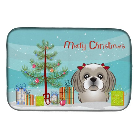 Christmas Tree and Gray Silver Shih Tzu Dish Drying Mat - Gray Shih Tzu