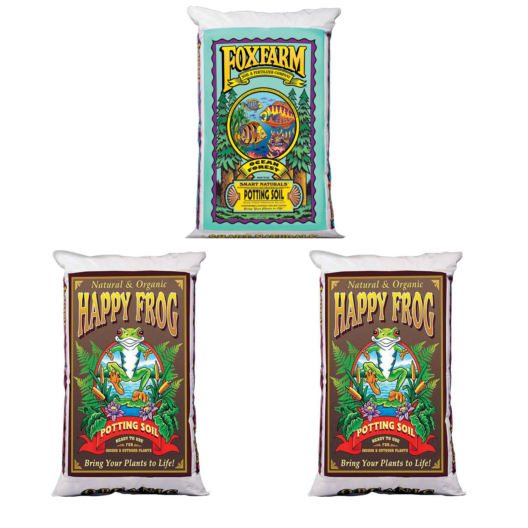 Foxfarm Happy Frog Organic Potting Soil Mix(2 Pack) and Ocean Forest Potting Mix