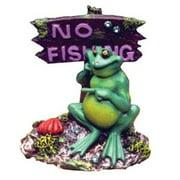 Blue Ribbon Pot Belly Frog No Fishing Sign Ornament 3L x 3W x 3.5H