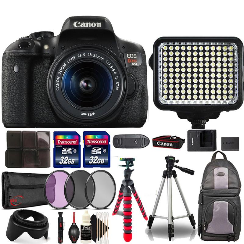 Canon EOS Rebel T6i 24.2MP Digital SLR with EF-S 18-55mm IS STM Lens , 120 LED Light and Ultimate Accessory Bundle