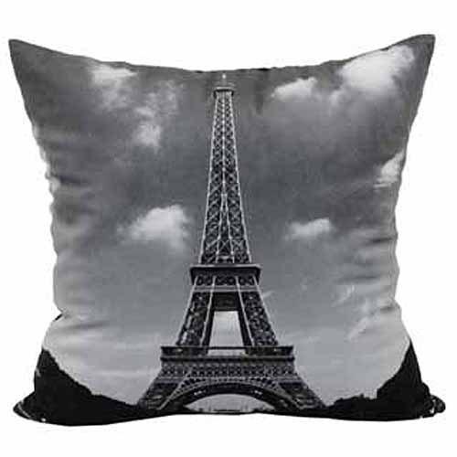 Mainstays Eiffel Tower Throw Pillow, Black