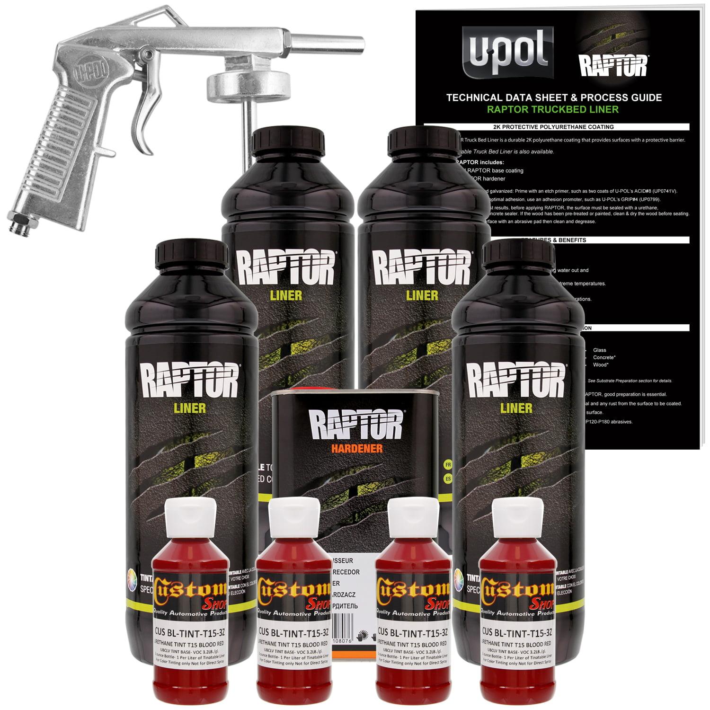 Raptor Blood Red Urethane Spray-On Truck Bed Liner Spray Gun, 4 Liters