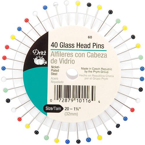 Glass Head Pins, Size 20, 40pk