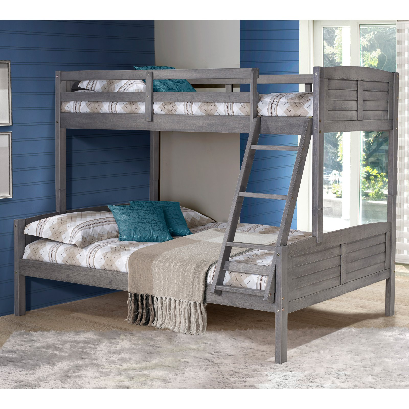 Donco Louver Twin over Full Bunk Bed Antique Grey by Donco Kids