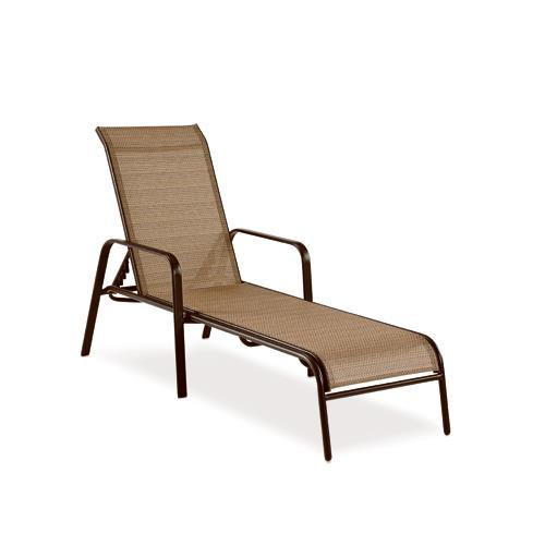 Letright Industrial 751.015.000 Concord Sling Chaise Lounge Chair, Brown  Steel U0026 PVC