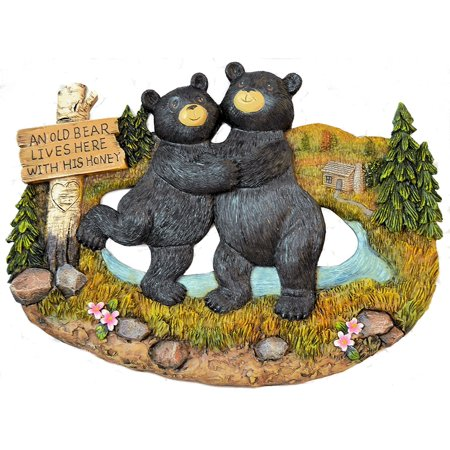 Black Bear Decorations for Home - Bear Kitchen Decor Home decor Family Signs - bear wall hanging decorative welcome signs - bears outdoor wall decor (An Old Bear Lives Here (Here Hanging)