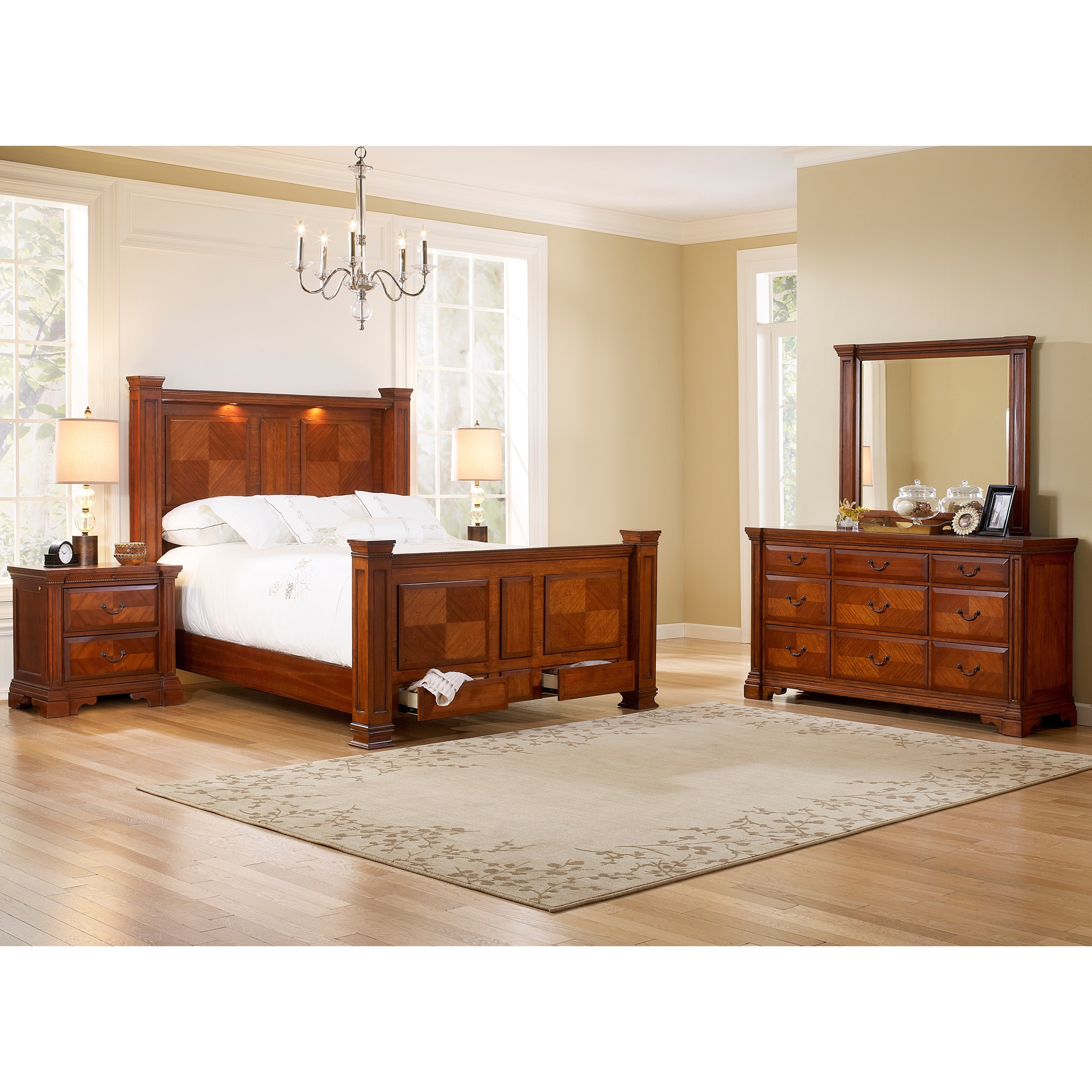 Accent Furniture Smithfield Bed Dresser Mirror Nightstands Bedroom Set