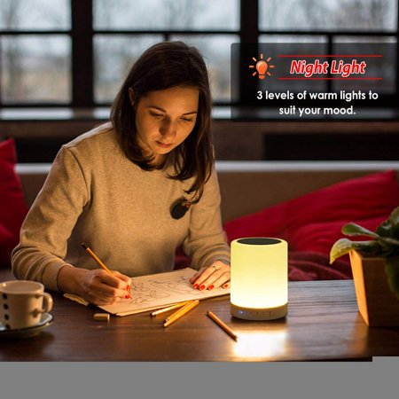Night Light Bluetooth Speaker, Portable Wireless Bluetooth Speakers with Touch Control 7 Color LED Table Light and Speakerphone/TF Card/AUX-in Supported - image 9 of 13