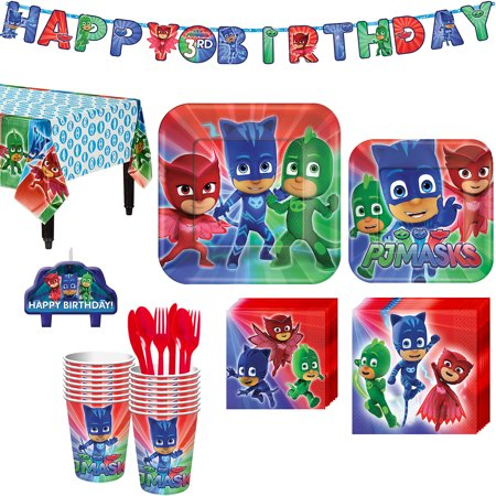 Movie Night Birthday Party (PJ Masks Birthday Party Kit, with Happy Birthday Banner and Candles, Serves)