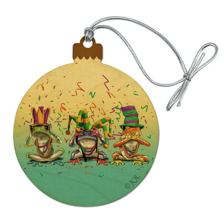 - Party Frogs Mardi Gras See No Evil Hear Speak Wood Christmas Tree Holiday Ornament