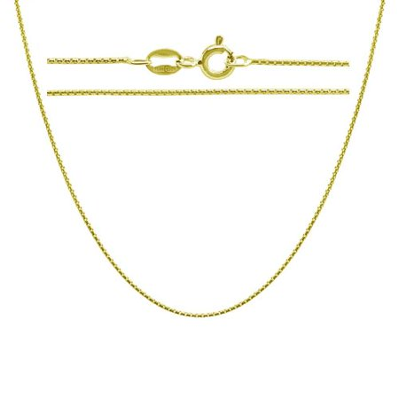 Gold Plated Sterling Silver 1mm Round Box Chain Necklace 14 inch
