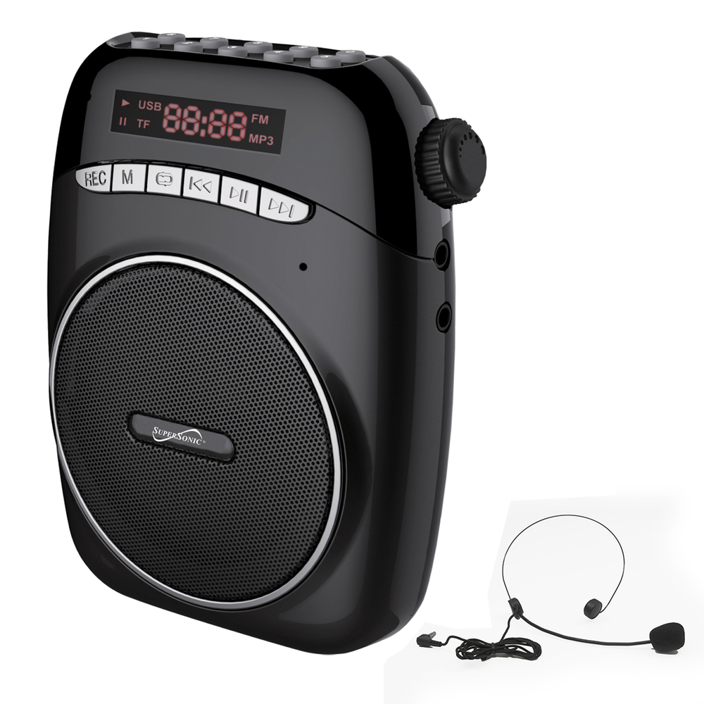 Supersonic SC-1370-BLK Portable PA System with USB & Micro SD Card Slot, Black