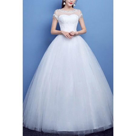 Women Sheered Neck Ball Gown Fancy Dress (Fancy Dress Express Delivery)