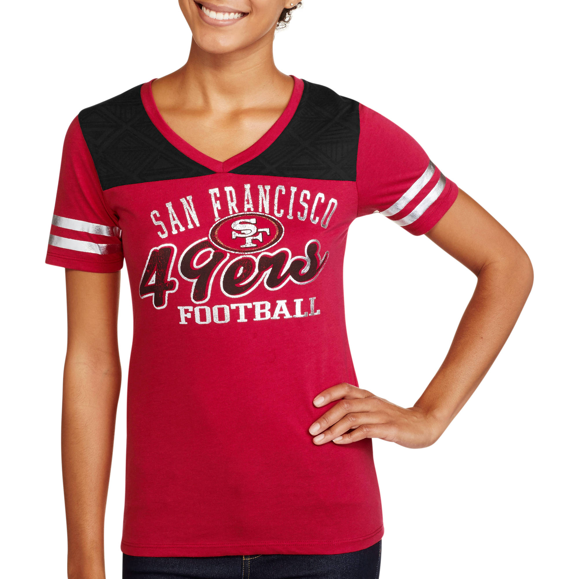 NFL Juniors 49ers  V Neck Short Sleeve Tee