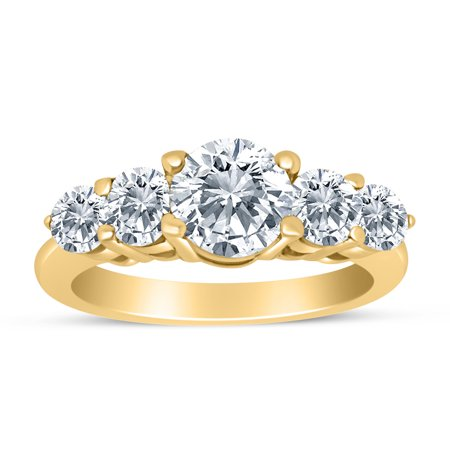 1.50ctw Diamond Five Stone Graduated Ring in 14k Yellow Gold