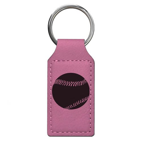 Keychain - Baseball Ball - Personalized Engraving Included (Pink Rectangle)