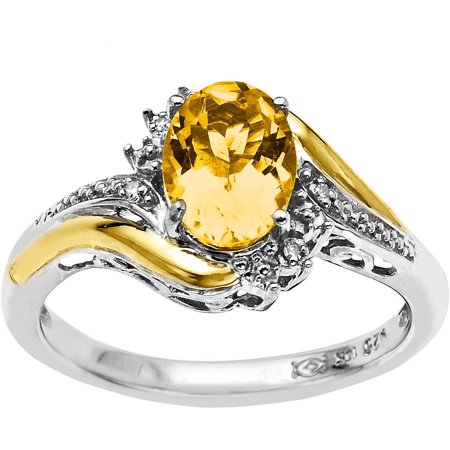 Duet Sterling Silver with 10kt Yellow Gold Oval Citrine and Diamond Accent (Sterling Silver Oval Citrine Ring)