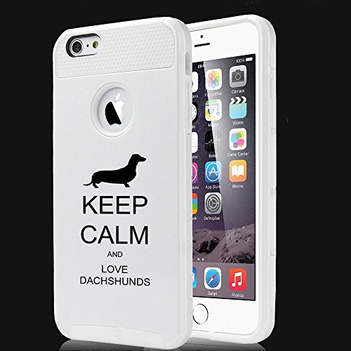 Apple iPhone 5 5S Shockproof Impact Hard Case Cover Keep Calm and Love Dachshunds (White),MIP
