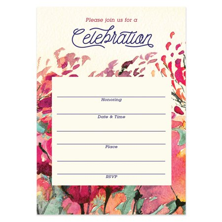 """Rustic Floral Invitations with Envelopes ( Pack of 25 ) Any Occasion Large 5x7"""" Fill In Wedding, Anniversary, Retirement, Housewarming, Bridal Shower, Excellent Value Party Invites VI0056B"""