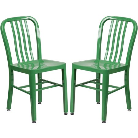 Industrial Design Green Slat Back Metal Chair ()