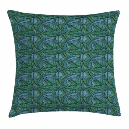 Banana Leaf Throw Pillow Cushion Cover, Hand Drawn Style Botanical Pattern Tropical Foliage in Green and Blue, Decorative Square Accent Pillow Case, 16 X 16 Inches, Jade Green Pale Blue, by Ambesonne (Tropical Foliage)