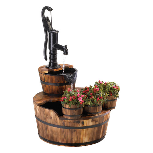 Zingz & Thingz Wood and Iron Well Pump Garden Fountain