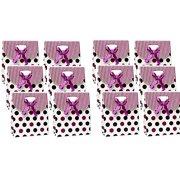 Gift Boxes Bags Bulk Purple Polka Dot 6 x 5 x 2-1/2 inch Set of 12 (12 White)