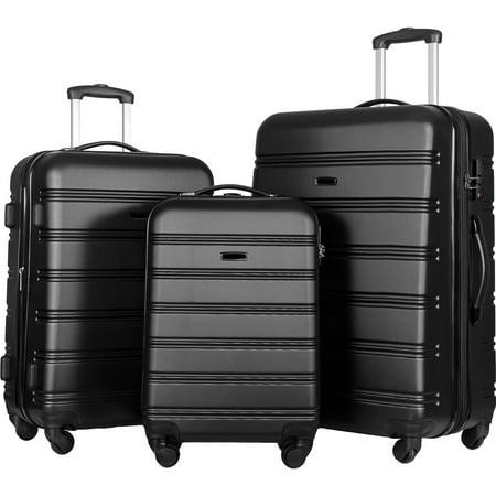 TSA Lock Luggage Set of 3, Lightweight Suitcase Luggage Set in Black