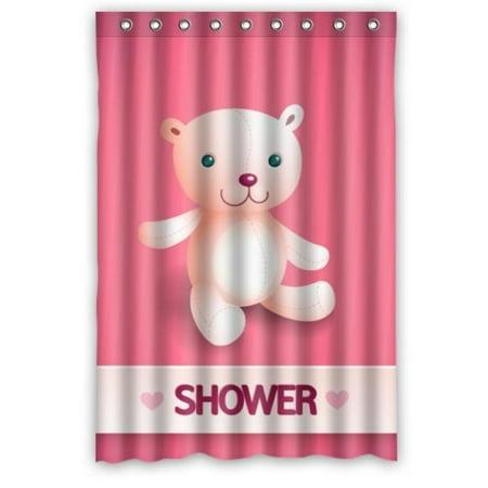 Cartoon For Kids Cute Bear Shower In Pink Curtain 48x72