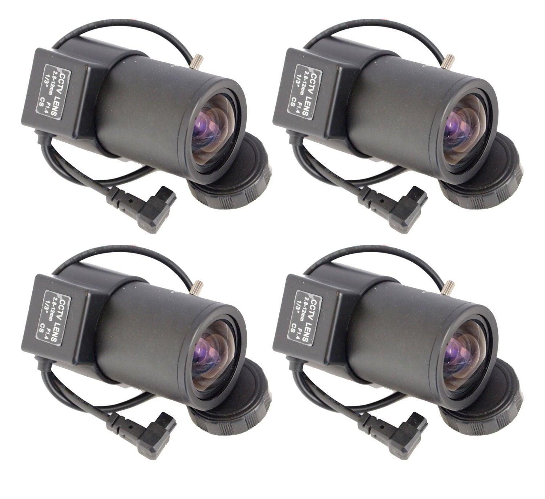 Evertech 4 Pcs 2.8-12mm Varifocal Auto Iris Lens for Professional CCD Cameras