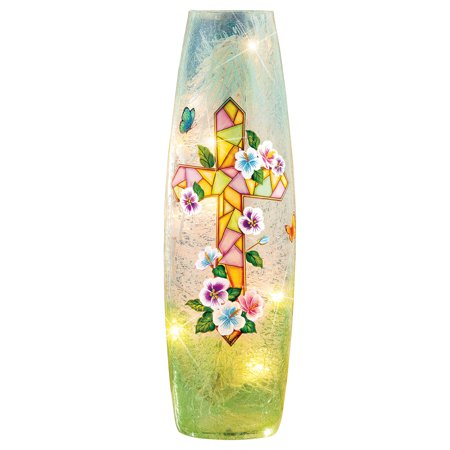 Bright Easter Mosaic Cross with Flowers Cracked Glass Hurricane Lamp - Home Décor for Any Room (Easter Glass Gems)