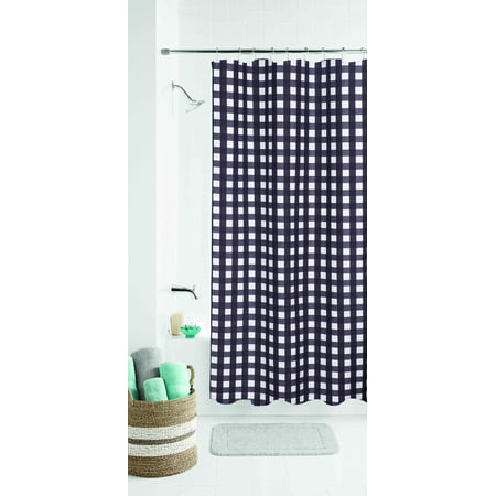 Mainstays Classic Gingham Fabric Shower Curtain (Gingham Shower Curtains)
