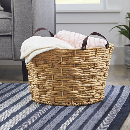 Better Homes & Gardens Large Round Natural Woven Basket with Leather Handles, Set of